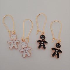 Gold enamel gingerbread man charm earrings
