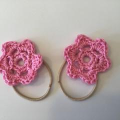 Crocheted flower hair ties