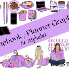 Digital Download Scrapbook Planner Sticker 65 Graphics Alphabet PNG bundle