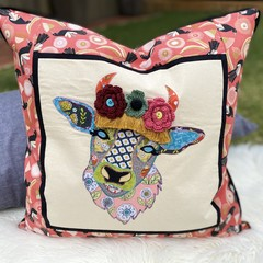 """Daisy"" the Cow Cushion Cover Apricot Magpies"