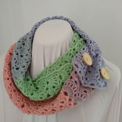 Hand Crocheted Spring Scarf - Pretty Pastels