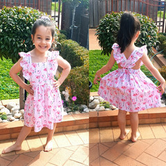 Australian handmade Flutter Pinafore dress |Baby Girl Toddler Dress | Ruffled Dr
