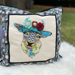 """Daisy"" the Cow Cushion Cover Aqua Magpie"