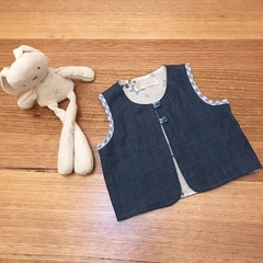 Kid's open vest top waistcoat in denim & Mickey Mouse print