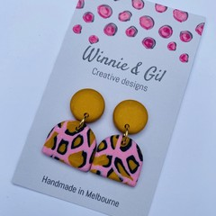 Pink and mustard leopard dangles