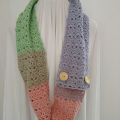 Hand Crocheted Autumn Scarf - Pretty Pastels