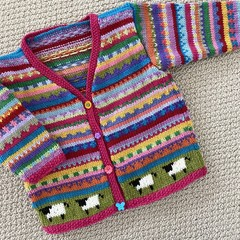 Pink 'Sheep'Cardigan - Size 1-2 years- Hand knitted