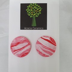 Red Marble polymer clay surgical steel studs