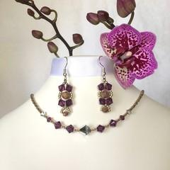 Swarovski Crystal Earring & Necklace Set: Lyrica & L'Argent