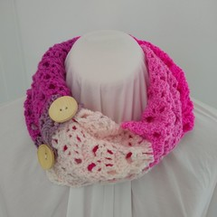 Hand Crocheted Spring Scarf - Pink, Purple & Cream