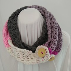 Hand Crocheted Spring Scarf - Pink & Grey