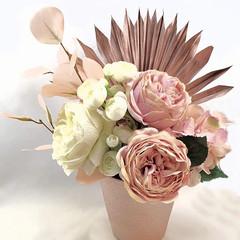 Pink & Ivory Silk Rose Flower Arrangement with Palm Leaves in Rose Gold Vase