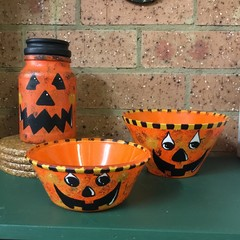 "Halloween ""Jack O Lantern"" type bowls."