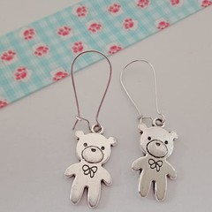 Silver teddy bear charm earrings