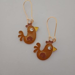 Gold brown chicken / rooster enamel charm earrings