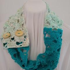 Hand Crocheted Spring Scarf - Turquoise & Cream Hearts