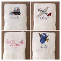 Personalised embroidered towels with many design choices