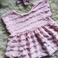 PINK FRILL DROP SLEEVE TOP, sz 1  (suit 12 - 18 month old)