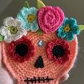 Halloween Wall Hanging Sugar Skull Crochet Gift