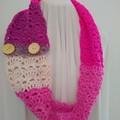 Hand Crocheted Autumn Scarf - Pink, Purple & Cream