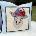 """Daisy"" the Cow Cushion Cover Duck Egg Spot with Floral"