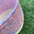 Rope Basket - with Orange and Blue Fabric Trim (Round)
