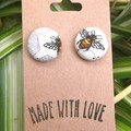 Bee Fabric Studs 19mm