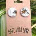 Bee Fabric Studs 19mm