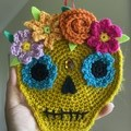 Crochet Sugar Skull Wall Hanging Halloween Decoration