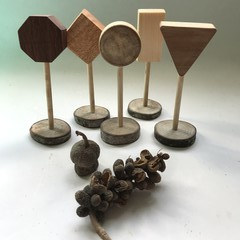 Toys of Wood - Natural wooden Road Sign set of Five