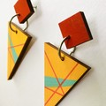 Free Postage Hand Painted Wooden Yellow Red Turquoise Geometric Earrings
