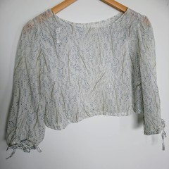 Vintage fabric boat neck top