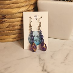 Purple with gold dangle earrings