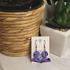 Purple with patterned arch earrings