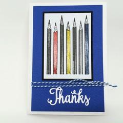 Thank You Card - Teacher, Thanks, Pencils Blue/Neutrals
