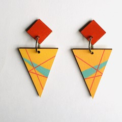 Hand Painted Wooden Yellow Red Turquoise Geometric Earrings