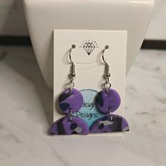 Purple with patterned arch earrings (black stripe)