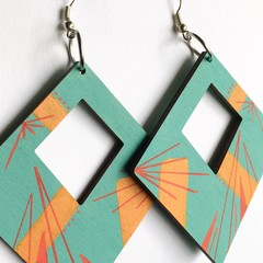 Hand Painted Wooden Turquoise Red  Geometric  Earrings