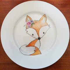 Hand painted plate featuring fox