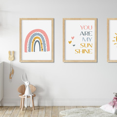 "YOU ARE MY SUNSHINE SCANDI RAINBOW Art Print Set (8x10"" size)"