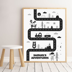 SCANDI ADVENTURE MAP Art Print 8x10""