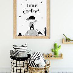 LITTLE EXPLORER MOUNTAIN BOY Art Print 8x10""