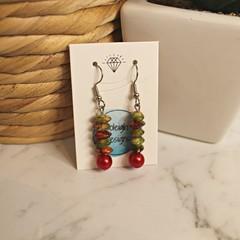 Christmas coloured marble stone earrings