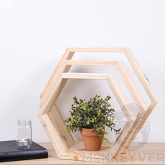 Hexagon Floating Shelf, Geometric set of 3, Babushka, stackable shelves