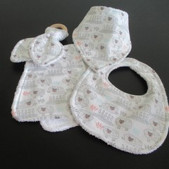 Sheep Set -  Bibs, Burp Cloth and Teether.