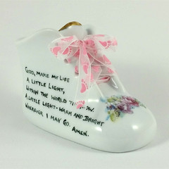 Porcelain Baby Shoe  Personalised Keepsake,  for New Baby or Christening Gift