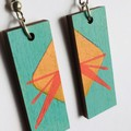 Free Post. Hand Painted Wooden Turquoise Red Geometric Statement Boho Earrings.