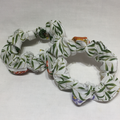 Hair scrunchy - white fabric with coloured flowers