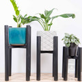 Indoor wooden plant stands, set of 3, reclaimed recycled timber