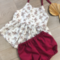BURGUNDY FLOWER SWING TOP & BLOOMERS, sz 1 & 2